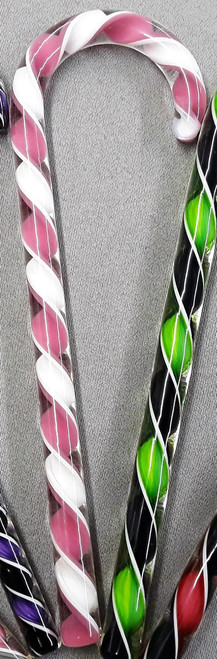 Tazza Candy Cane Ornament - Pink & White