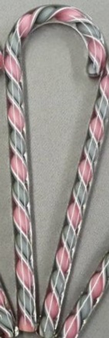 Tazza Candy Cane Ornament - Pink & Gray