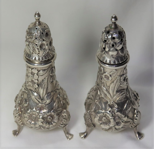 Kirk Stieff Repousse Footed Salt and Pepper Shaker Pair