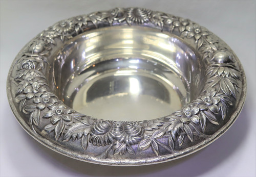 """Kirk Stieff Repousse Round Open Vegetable Bowl 9 1/2"""""""
