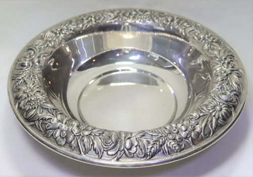 """Kirk Stieff Repousse Round Open Vegetable Bowl 10"""""""
