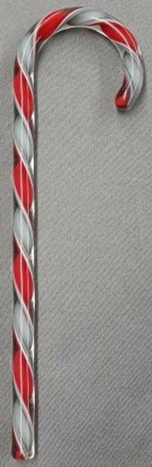 Tazza Candy Cane Ornament - Red, White and Grey