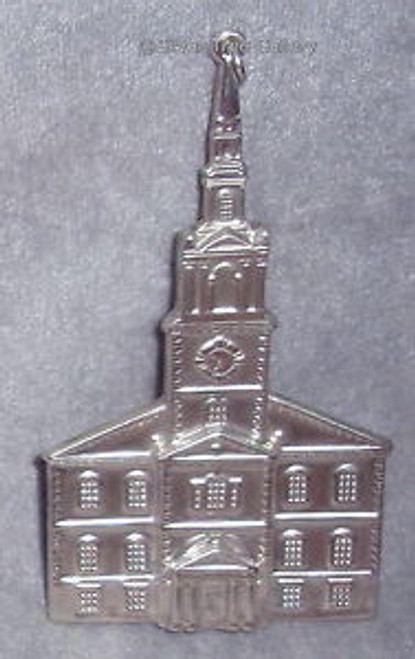 New England Sterling American Heritage Colonial Meeting Church Ornament 1992