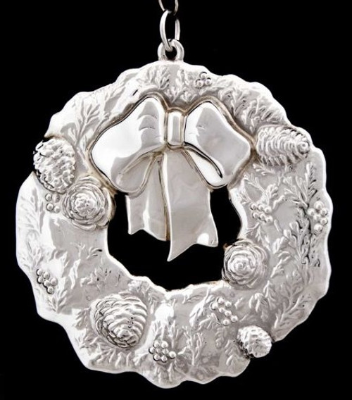 New England Sterling American Heritage Evergreen Wreath Ornament 1993