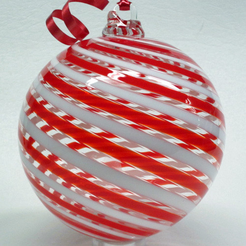 Tazza Candy Cane Ball Ornament - Red and White
