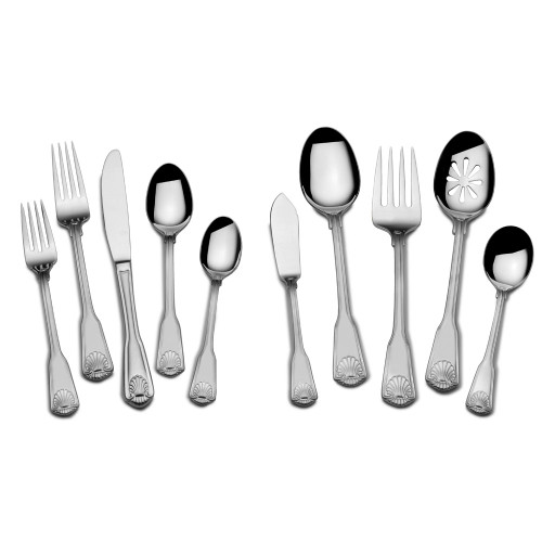 Towle London Shell 45pc 18/10 Stainless Steel Flatware Set