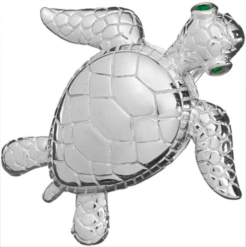 Oceano Jewelry Sea Turtle Slide Pendant with Green Swarovski Eyes