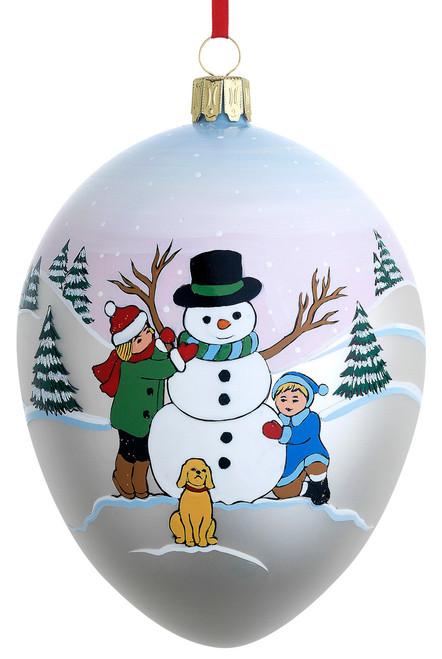 Reed & Barton Blown Glass Snowman and Friends Egg Ornament