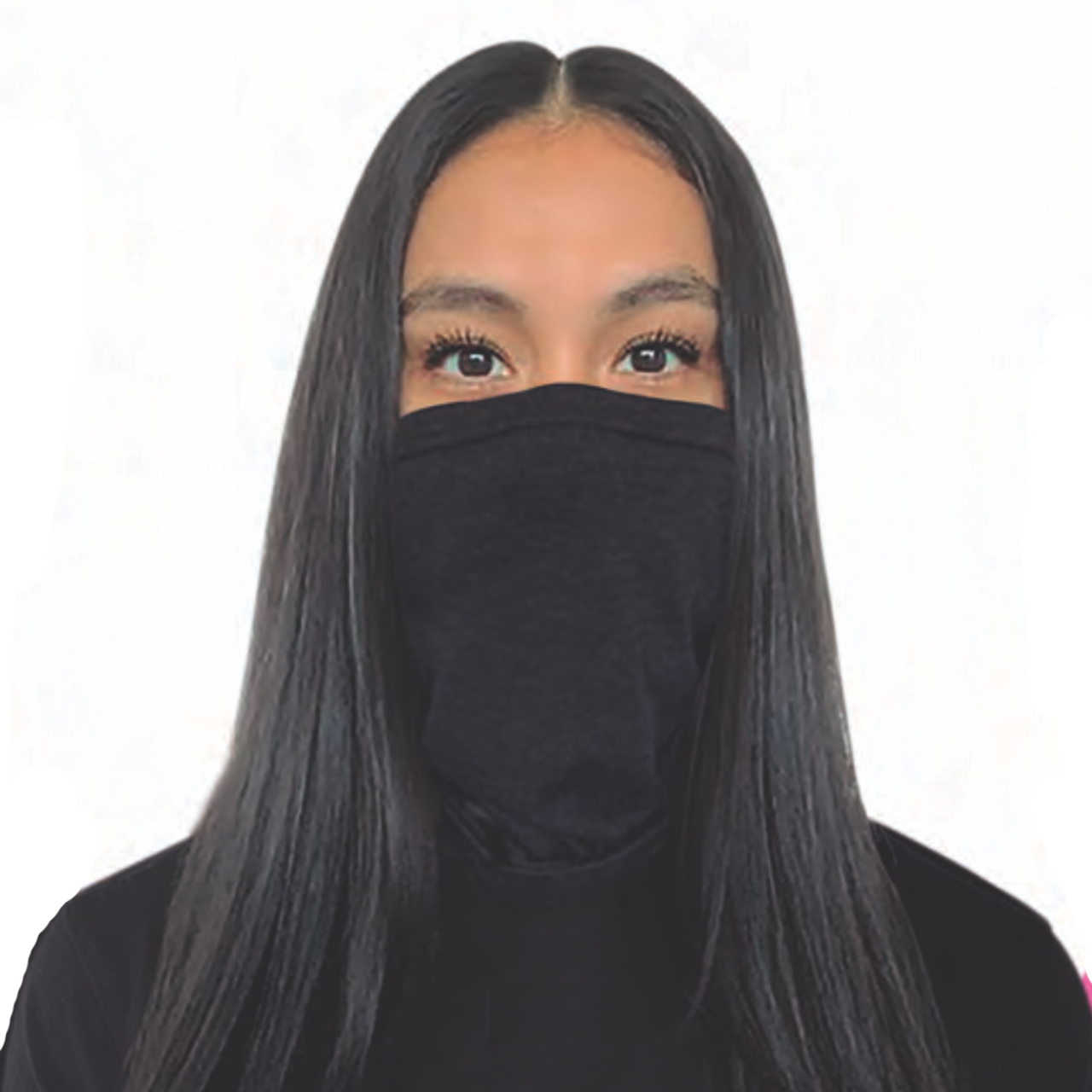 Details about  /Black Neck Gaiter with Hearts