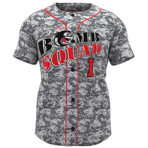 AthElite Mens Dinger Short Sleeve Baseball Full Button Jersey