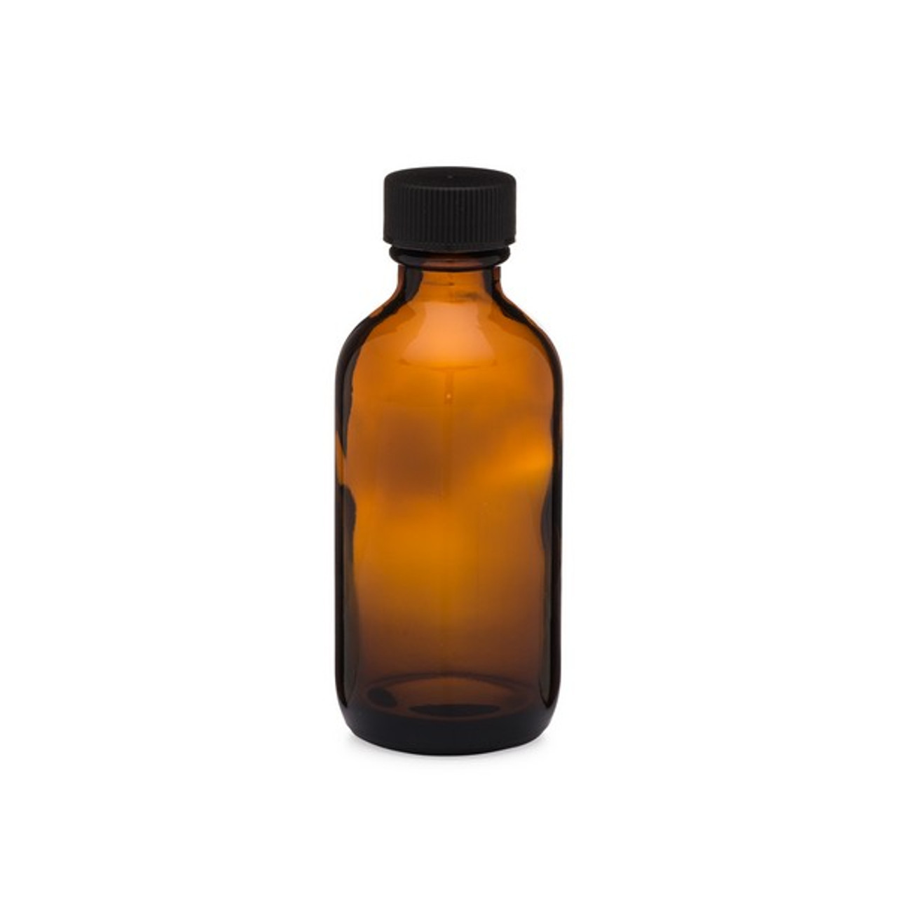 2 oz Amber Glass Boston Round Bottles (Black PP Cap) - AB2-24
