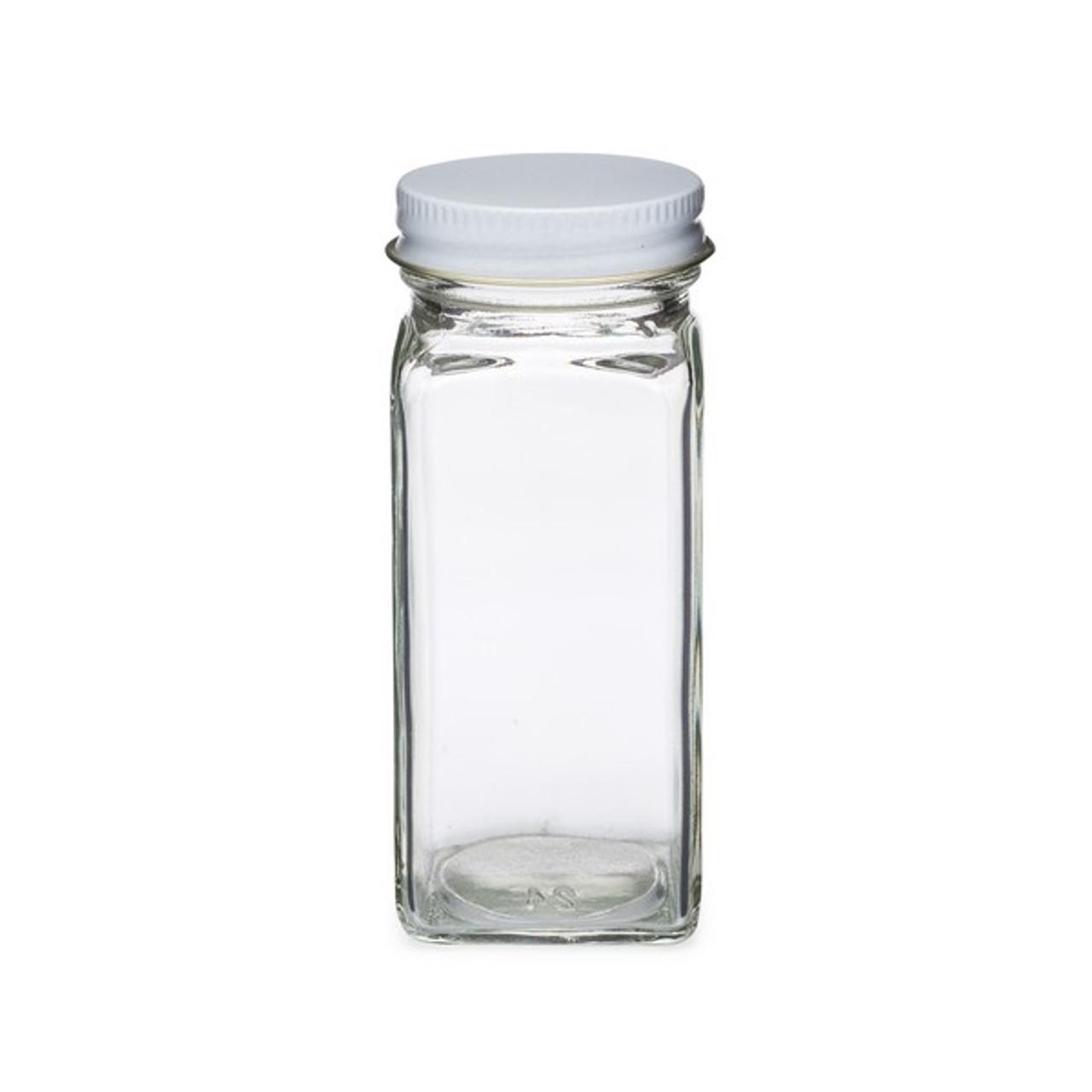 4 oz Clear Square Glass Spice Jars (White Metal Cap) - SP4SQW-METAL