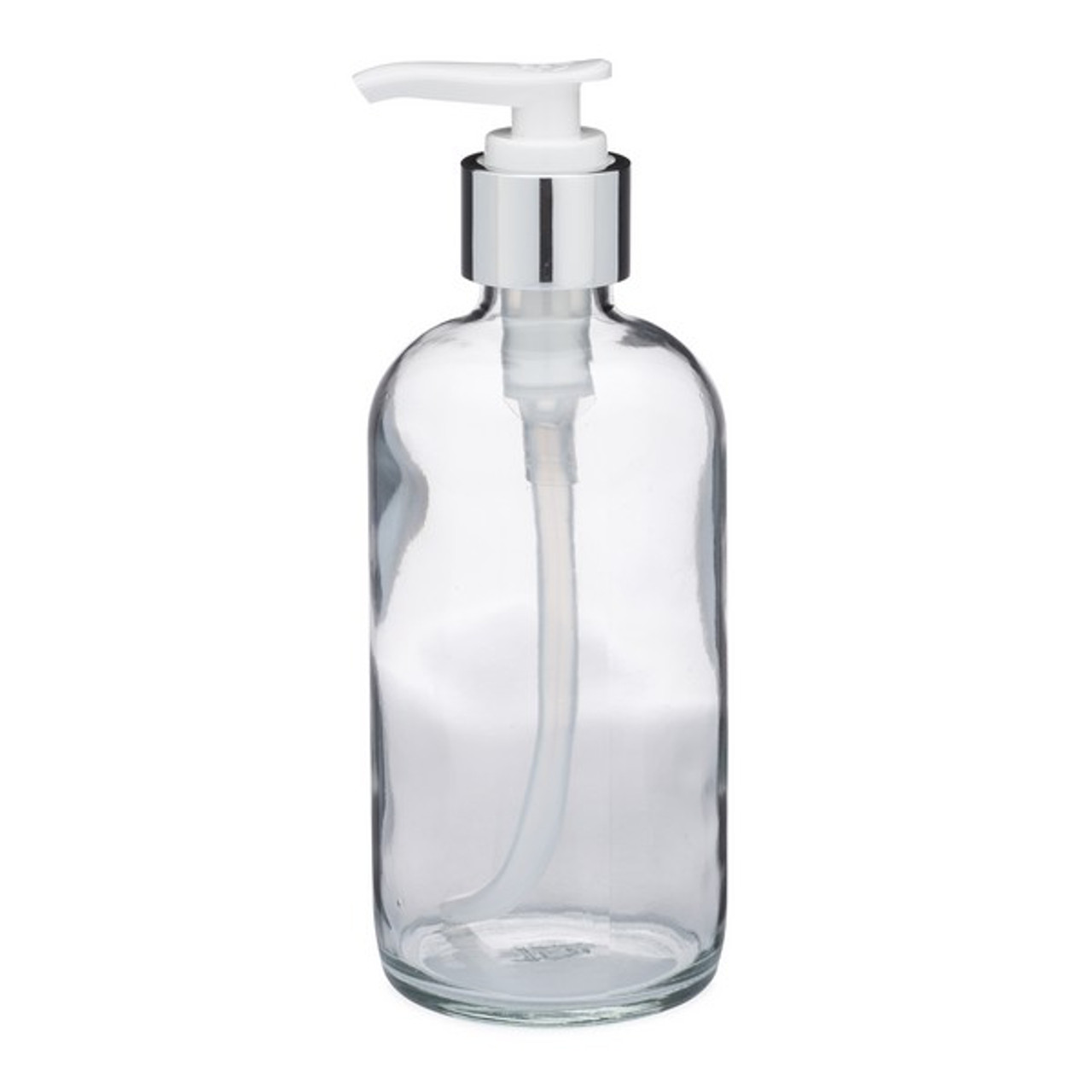 2e9f8aaff7a6 8 oz Clear Glass Boston Round Bottles (Silver PP Lotion Pump) - BC8PS