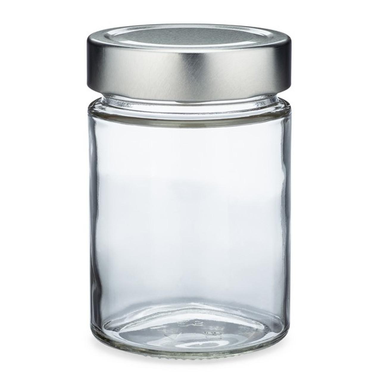 10 oz Clear Glass Ergo Food Jars (Silver Metal Lug Caps) - BP400582SLV