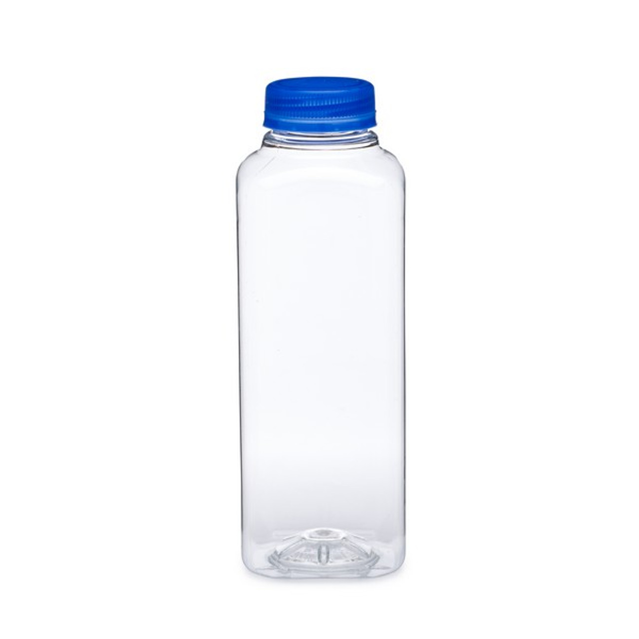 16oz Clear Pet Square Beverage Bottles Blue Cap Berlin