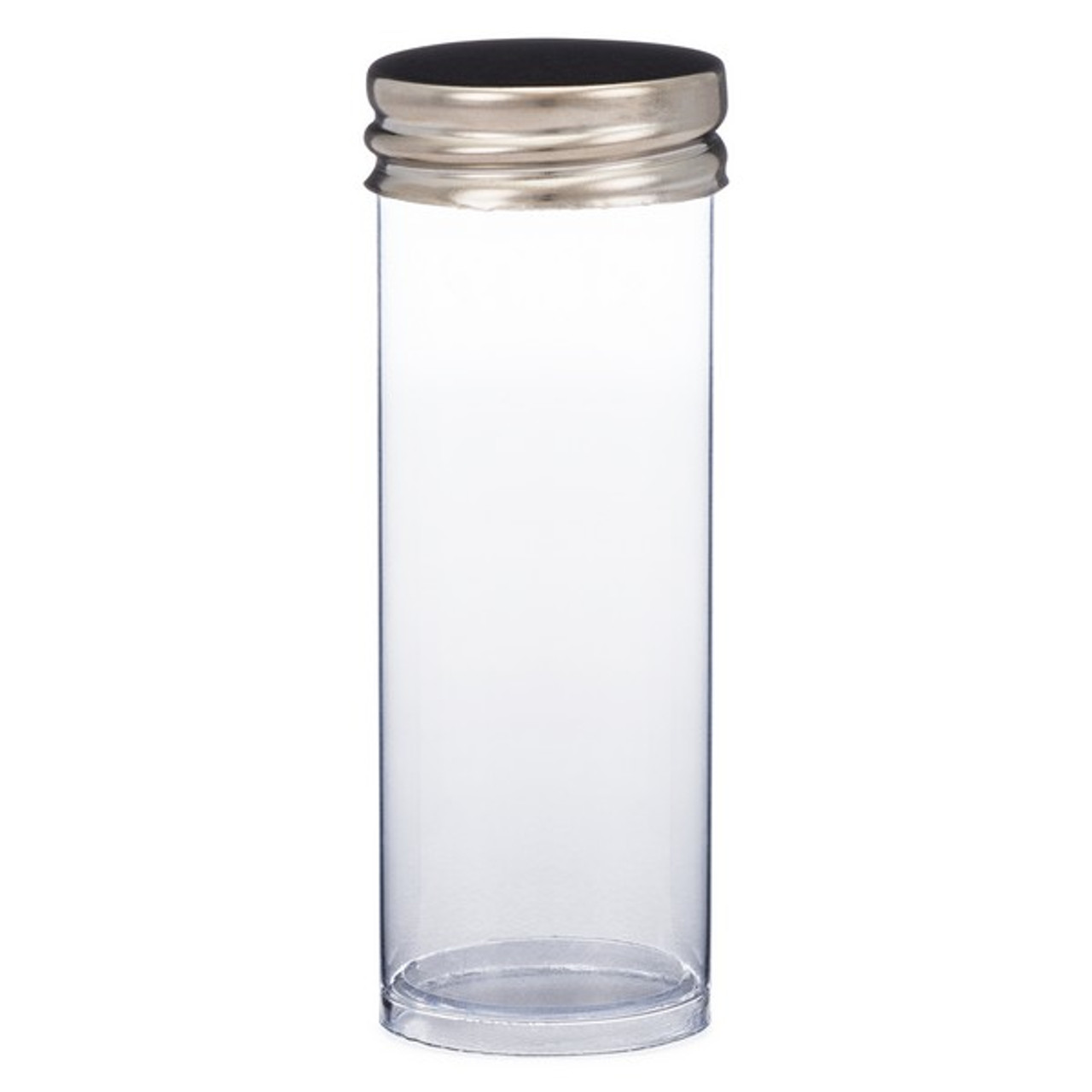 ba49cd704e38 10 Dram (37 ml) Clear Polystyrene Plastic Vials (Metal Cap) - F1249
