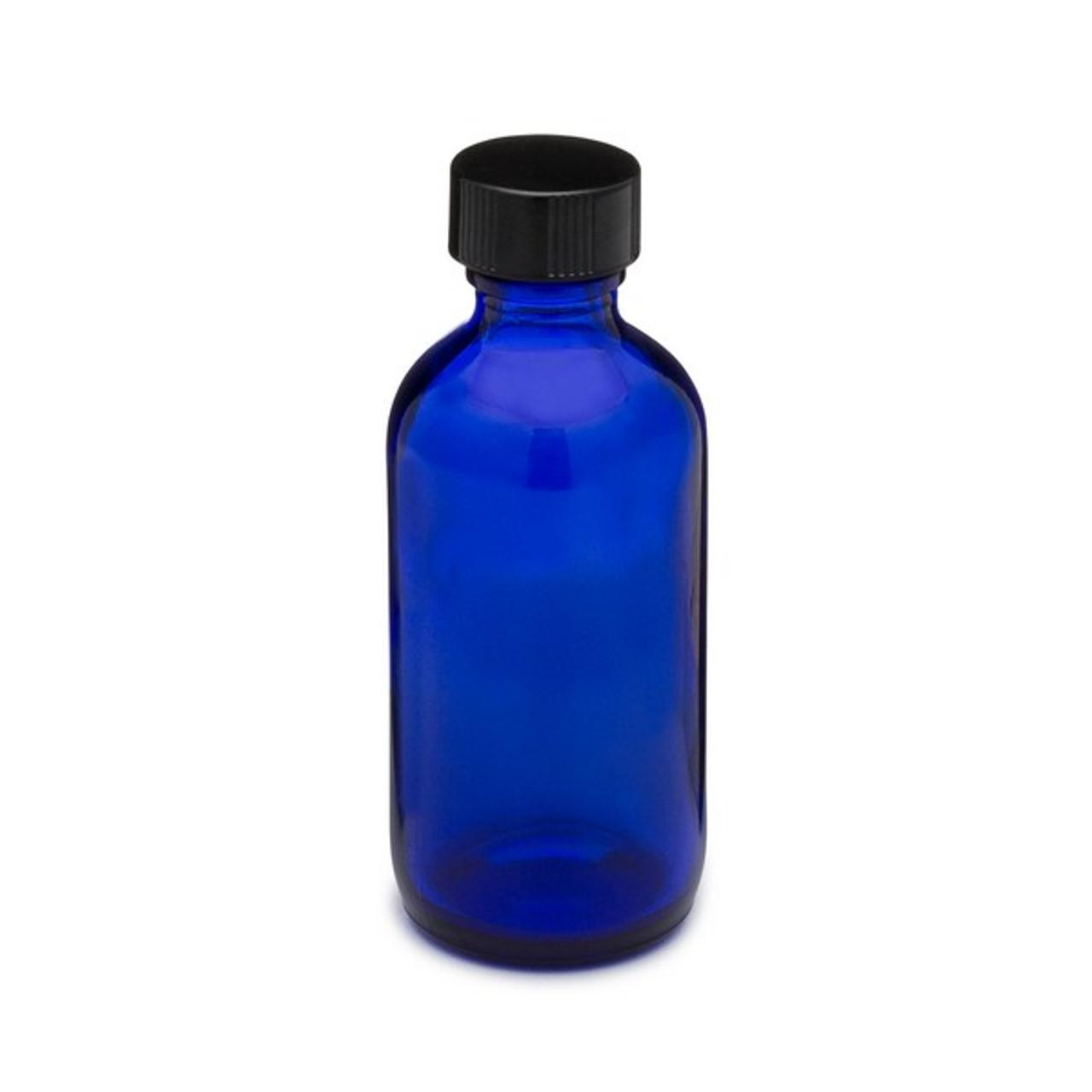 fa268e713bba 2 oz Cobalt Blue Glass Boston Round Bottles (Black Phenolic Cap) - 4999B05