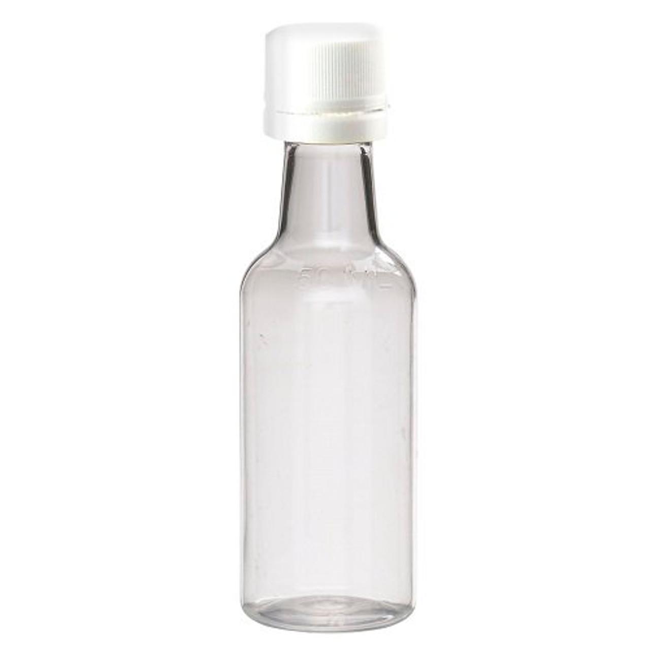 4aabae3a584f 50 ml Clear PET Plastic Mini Liquor Bottles (White Tamper-Evident Cap) -  71000