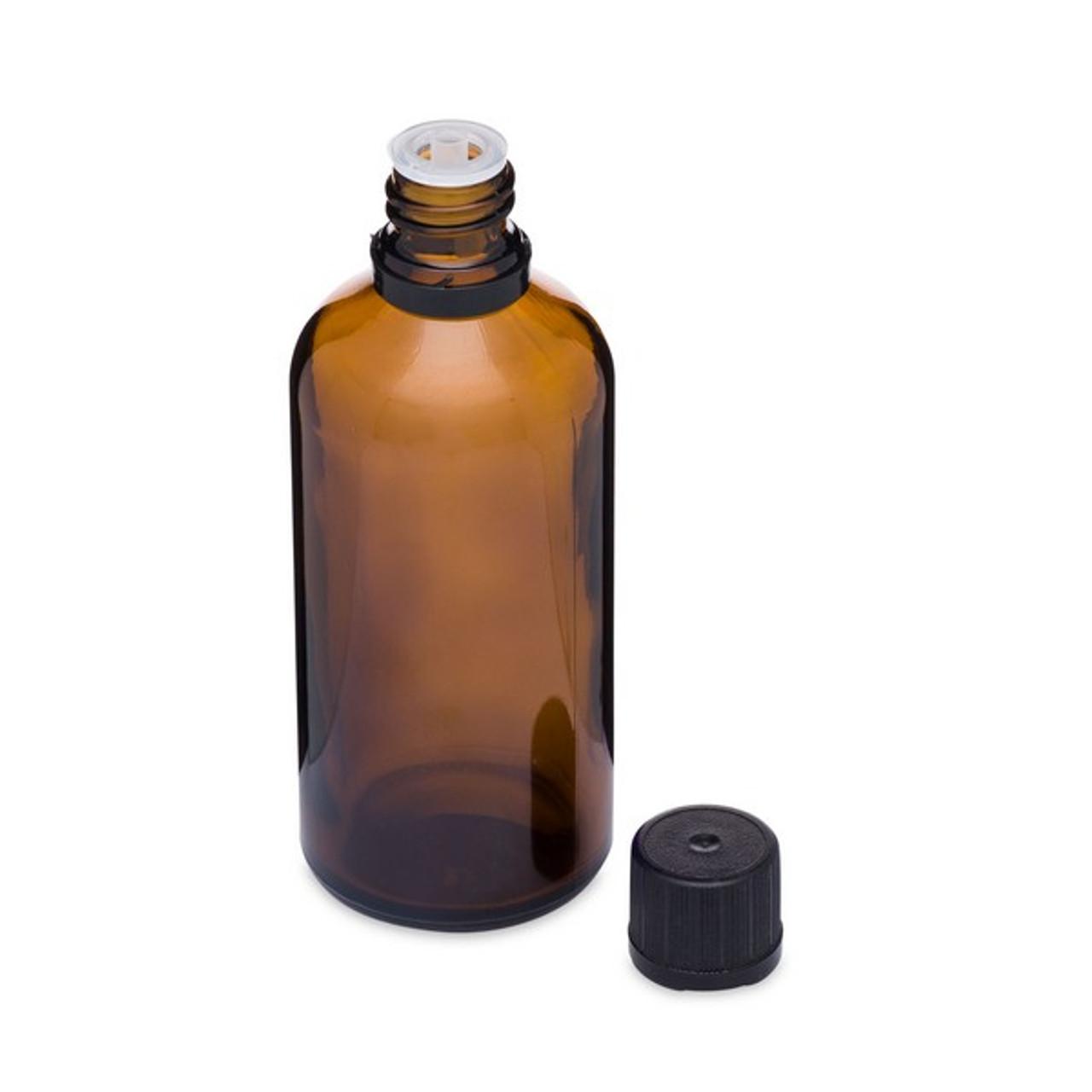 8c670090cfce 3.4 oz Amber Glass Euro Dropper Bottles (Black Tamper-Evident Cap) -  8624B11ABR