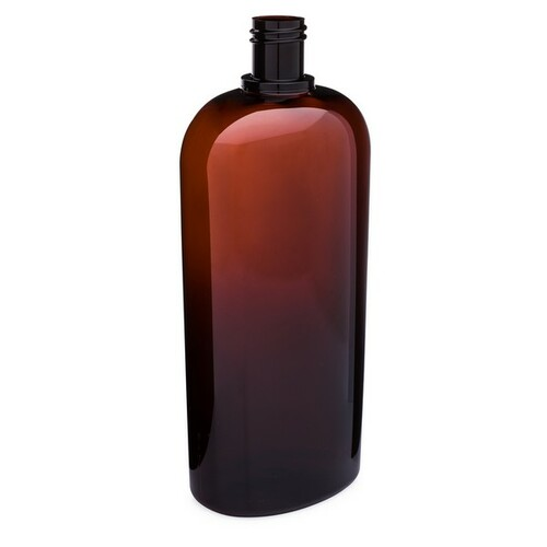 6b5547ca1baf 32 oz Amber PET Plastic Oval Bottles (Cap Not Included) - 3617B49-BABR