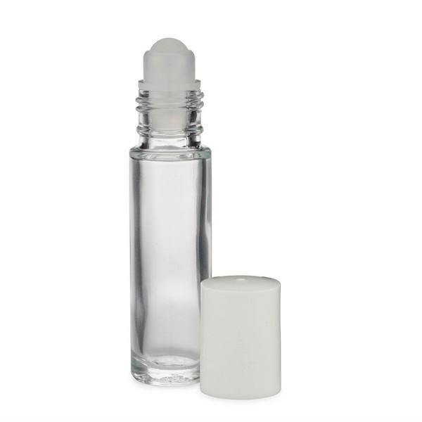 7407ee697dbb 0.33 oz Clear Glass Oblong Roll-On Bottles (White PP Cap) - ROL
