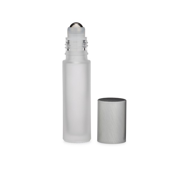 81f3f566210d 2.7 Dram (10 ml) Frosted Glass Vial with Stainless Steel Roller Ball &  Silver PP Cap - 3123B65