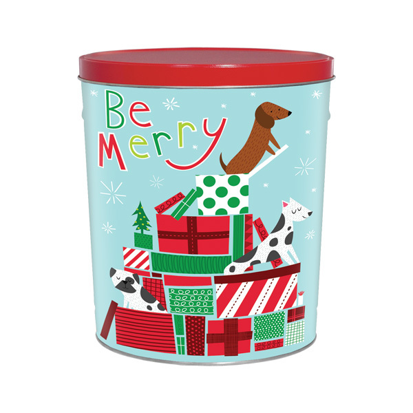 3 5 Gal Decorative Holiday Tins Jingle Pups Berlin