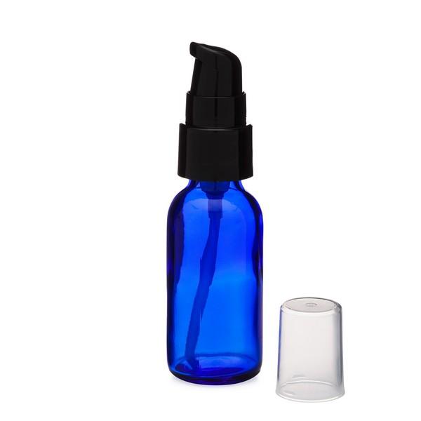 dc92b2a8fa99 1 oz Cobalt Blue Glass Boston Round Bottles (Black Treatment Pump) -  CB1TPB-48