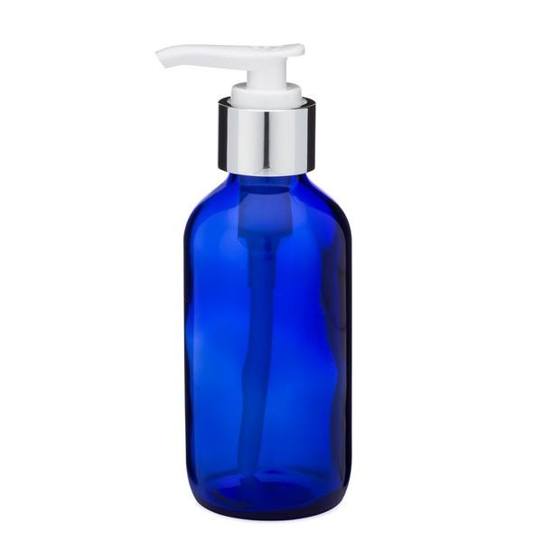 db7001812b67 4 oz Cobalt Blue Glass Boston Round Bottles (Silver PP Lotion Pump) -  CB4PS-24