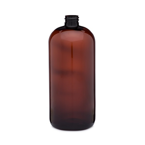29d46e739463 32 oz Amber PET Plastic Boston Round Bottles (Cap Not Included) -  3371B13-BABR