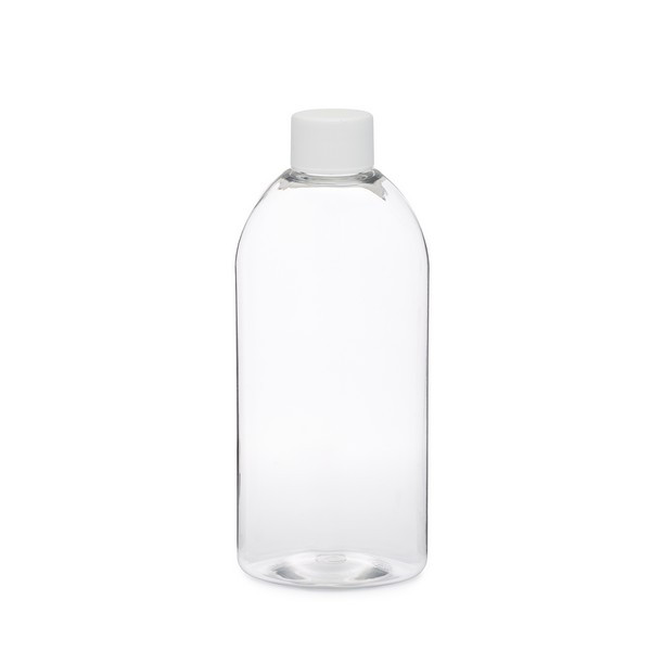 8 oz clear pet plastic designer bottles white cap 34808