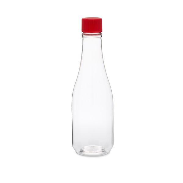 28e2d911325 8 oz Clear PET Plastic Hot Sauce Bottles (Red Screw Top Cap) - 34925
