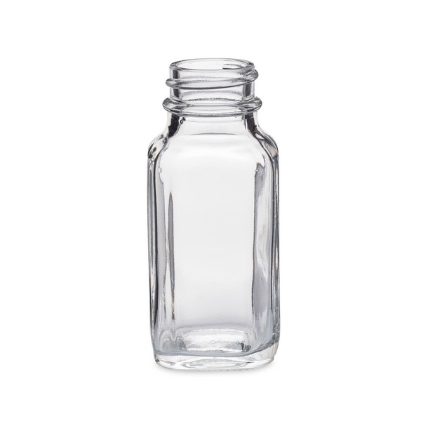 2 oz Clear Glass French Square Bottles (Cap Not Included) - 4225B05-B
