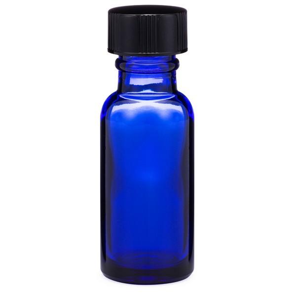 0b437f299e79 0.5 oz Cobalt Blue Glass Boston Round Bottles (Black Phenolic Cap) - 4998B31