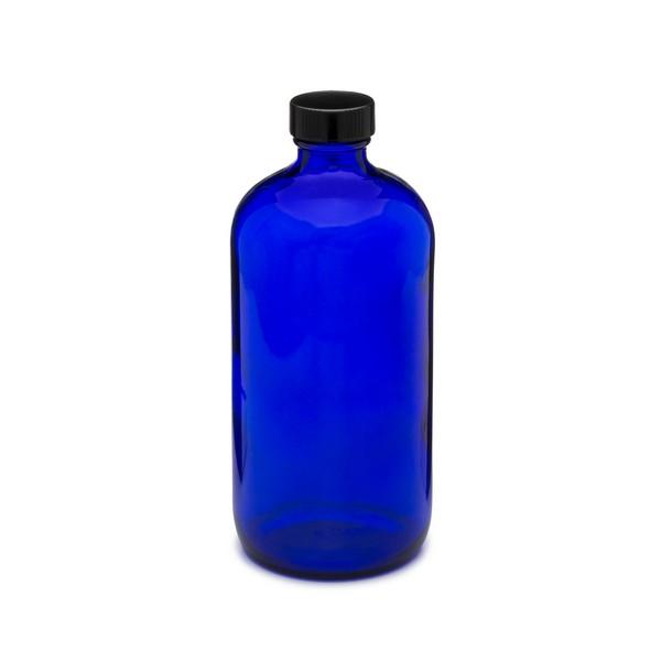 b615e7d39a24 16 oz Cobalt Blue Glass Boston Round Bottles (Black Phenolic Cap) - 4999B11