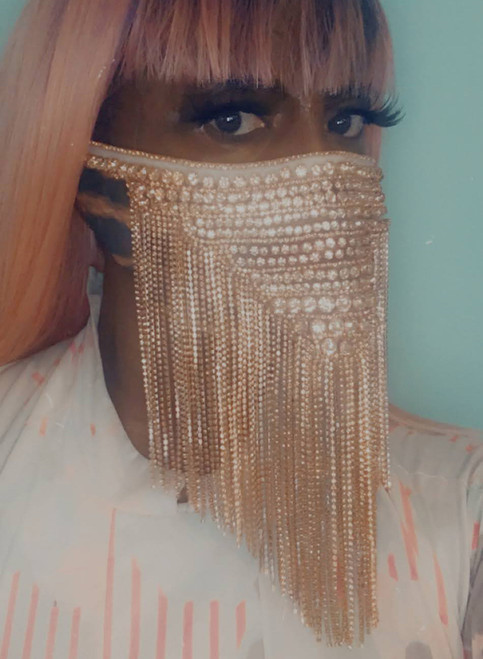 Rose Gold Beaded Fringe Face Mask