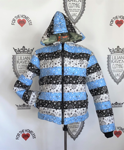 Hooded Bandana Puffer Jacket Black Blue White