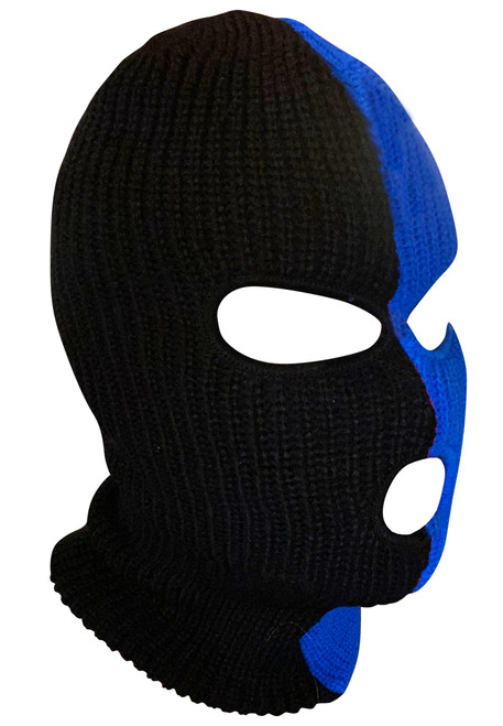 Ski Mask Black and Blue 3 holes Half Black Half Blue