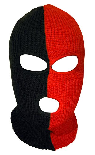 Ski Mask Black and Red 3 holes Half Black Half Red