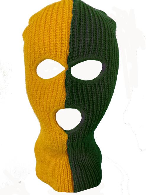 Ski Mask Green and Yellow 3 holes Half Green Half Yellow Colors