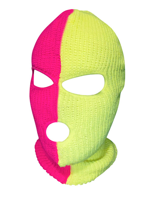 Ski Mask Neon Pink and Green 3 holes Half  Neon Pink Half Neon Green Colors