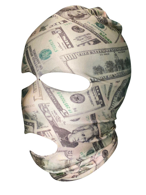 Ski Mask Money Dollars Print 3 holes