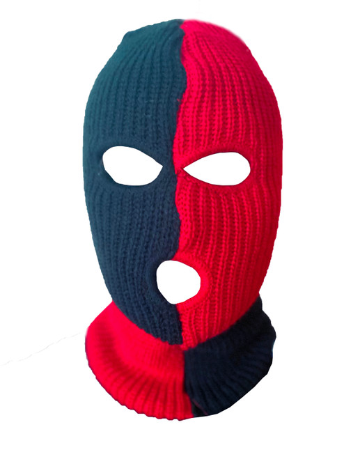 Ski Mask Black and Red Checks 3 holes