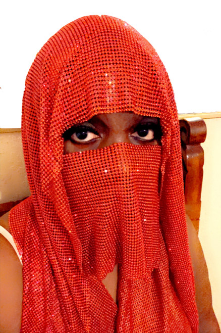 Red Diamond Red Metal Chain Mail Head Piece with veil