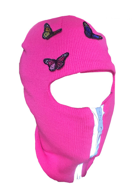 Neon Pink reflective zip up Balaclava with butterflies, ski mask
