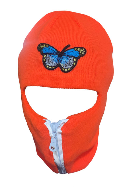 Neon Orange  reflective zip up Balaclava with butterfly, ski mask