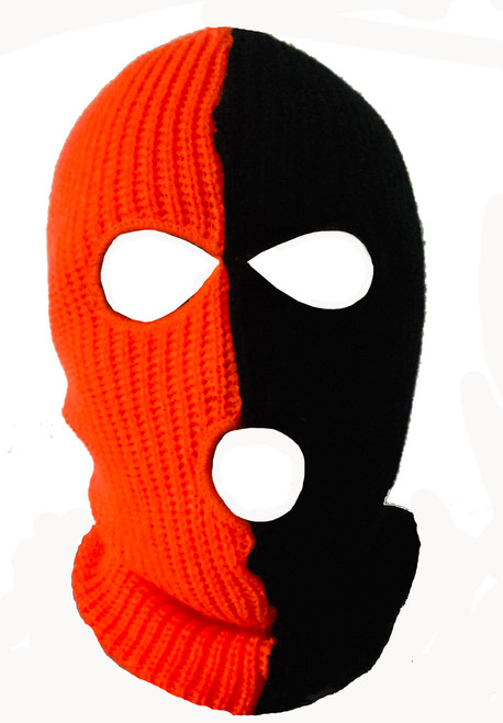 Ski Mask Halloween Two Tone 3 holes orange and black