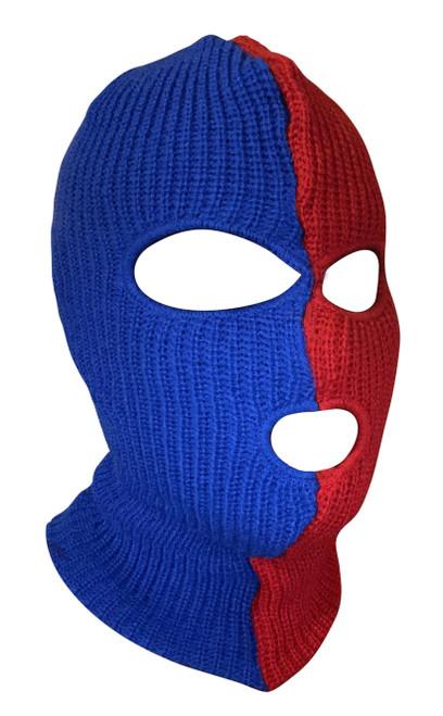 Ski Mask Spiderman colors 3 holes Half Red Half Blue Two Tone