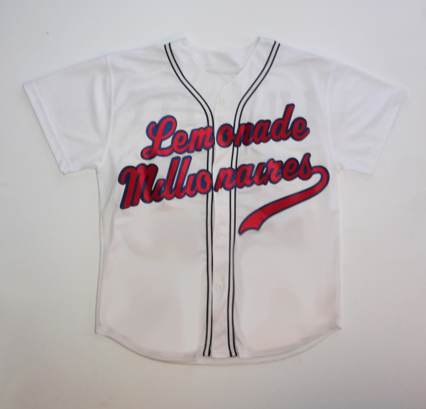 white baseball shirt with red and blue letters