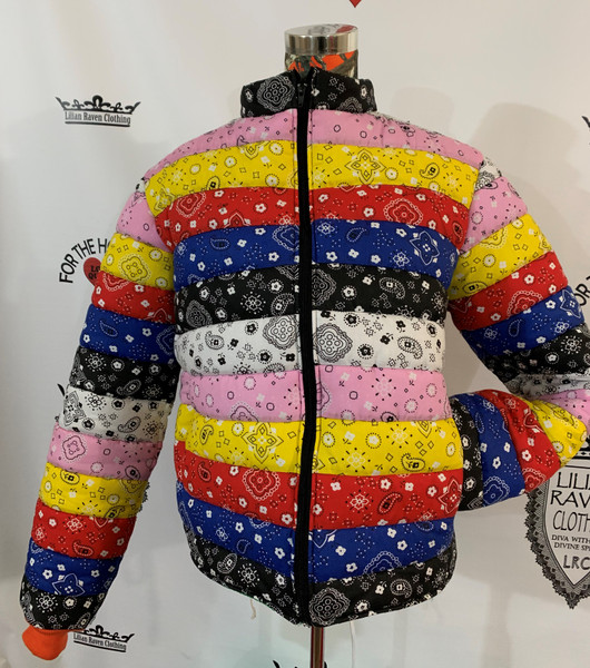 Front black, blue, red, yellow, pink, white bandana strips made into a puffer jacket